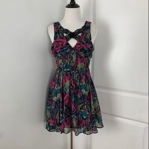 BCBG Cutout Floral Dress